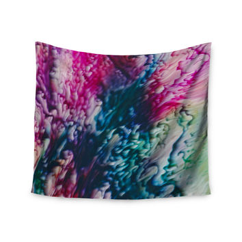 "Malia Shields ""Splash Abstract Ink"" Magenta Green Wall Tapestry"