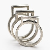 The 2 Bandits Womens Square Ring Set - Silver One
