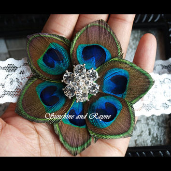 Kaelyn Kouture: Gorgeous Peacock Flower Fascinator Headband w/ Sparkly Rhinestone Flower - Flower Girl, Baby, Girls Photo Prop Headband
