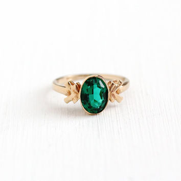 Vintage 10k Yellow Gold Simulated Emerald Ring - Size 4 Oval Green Faceted Glass Fine Flower Leaf Jewelry BDA Budlong Docherty Armstrong