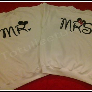 MR and MRS Couples SweatShirt Disney Inspired Couples Sweatshirts