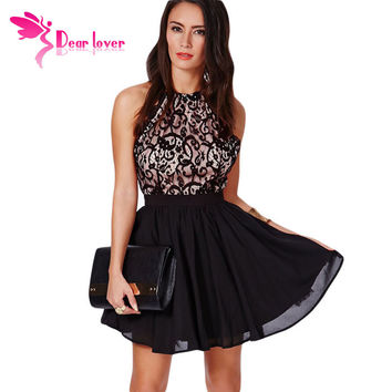 Dear Lover Summer vestidos femininos Sexy Sleeveless Chiffon Prom Black Cross Back Lace Detail Party Skater Mini Dress  LC21573