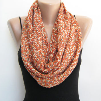 15% SALE Orange floral chiffon infinity scarf