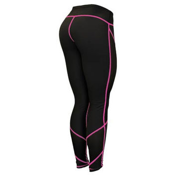 Six Deuce Black Mesh-Tech Pink Stitch Fitness Leggings