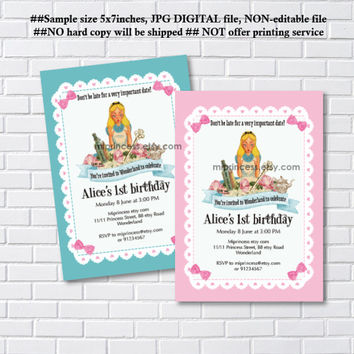 Alice in wonderland invitation, Birthday Invites, Alice Mad tea party first birthday  1st 2nd 3rd 4th 5th 6th 7th 8th 9th 10th - card 1099