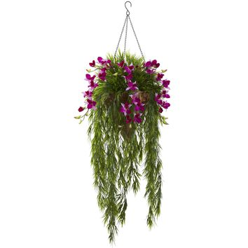 Artificial Flowers -Bamboo And Purple Dendrobium Hanging Basket Artificial Plant