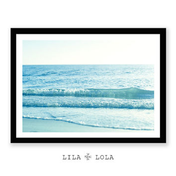 Ocean Water Waves Photography, Beach Wall Art, Coastal Print, Modern Minimalist Large Poster, Printable Digital Download, Blue Pastel Decor