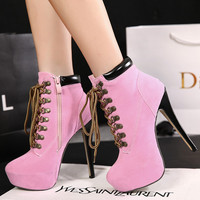 High Heel Cross Strap Boots = 4814734724
