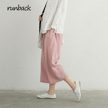 2017 Summer Thin Silk Trousers Tencel Elastic Waist Solid Ankle Length Loose Oversize Pockets Pantalones Mujer Pants Capris