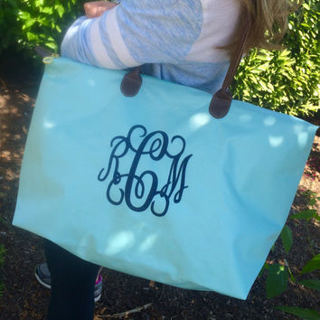 Tiffany Blue Champ Tote Bag Large Monogram  Font shown INTERLOCKING in navy