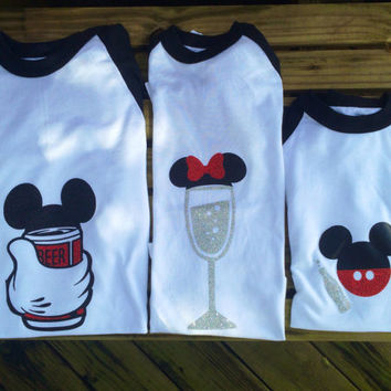 Food and wine Family Disney shirts/ beer and champagne