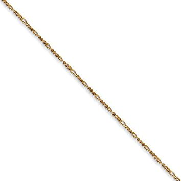 1.25mm, 14k Yellow Gold, Flat Figaro Chain Necklace