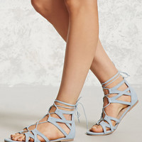 Faux Suede Cutout Sandals