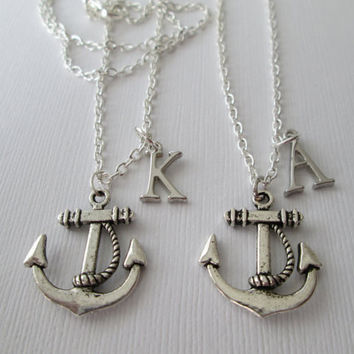2 Silver Anchor, Initial Best Friends Necklaces.