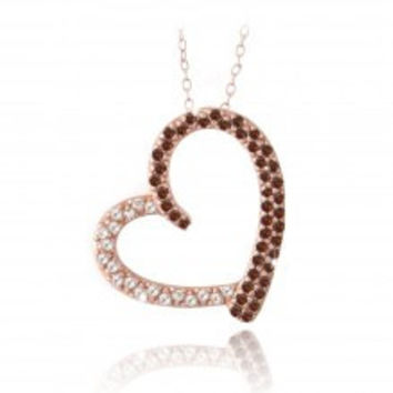 Rose Gold Tone over Sterling Silver 2/5ct Red Diamond & White Topaz Open Floating Heart Necklace