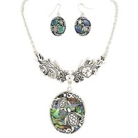 Abalone Shell Silver Turtle Statement Necklace