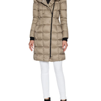 Soia & Kyo Women's May Quilted Standing Coat - Light/Pastel Brown -