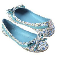 Hailey Jeans Co Womens Bow Accent Floral Ballet Flats