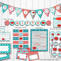 Red & Teal Elephant Baby Shower: Decorations, Banner, labels, cupcake toppers, Printable, Instant Download by Little Party that Could