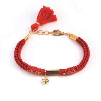 Red bracelet with heart charm, tassel bracelet, knit bracelet, heart bracelet with tube