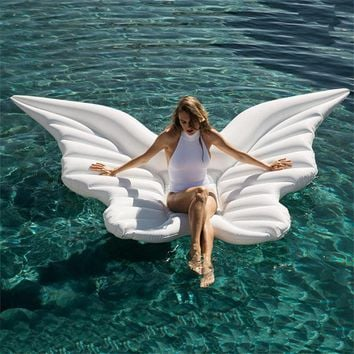 250cm Giant Angel Wings Inflatable Pool Float Gold White Air Mattress Lounger Water Party Toy Ride-on Butterfly Swim Ring