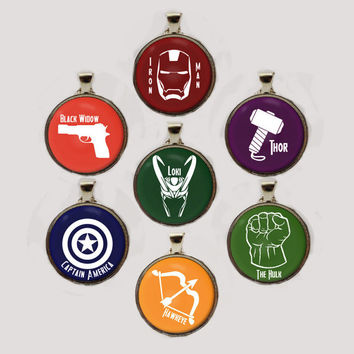 Marvel Avengers Heroes or Villain Pendant Necklace or Keychain