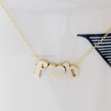 Gold initial necklace, Lowercase Letters & Heart Initials Necklace (Gold)- personalized necklace, gold and silver, initials