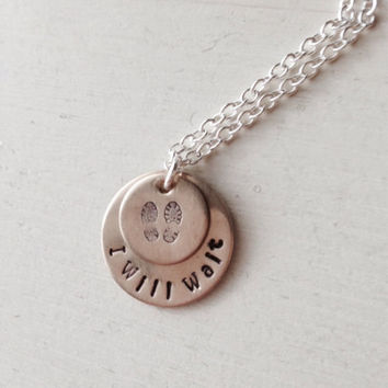 Deployment, Deployed, Military, Spouse, Air Force, Marines, Army, Navy, Fiancé, Wife, Hand-Stamped, Combat Boots, I Will Wait, Necklace