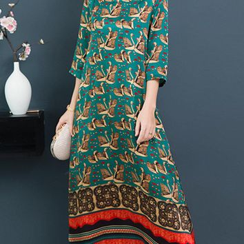 Elegant Printed 3/4 Sleeve Dresses