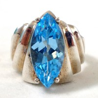 Estate Sterling Silver Modernist Vibrant Blue Topaz Ring Sz 6.25