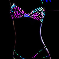 Neon Zebra Blacklight Glow Two Piece