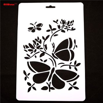 1pcs / Lot 30.5 * 21cm Large Butterfly And Other Patterns Engraving Template Multi-function Drawing Template Stencil Template