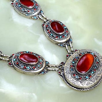 Carnelian Stone Afghan Kuchi Pendant Necklace Tribal Jewelry Ethnic Boho Chain