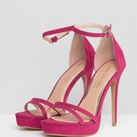 Head Over Heels by Dune Bright Pink Ankle Strap Going Out Heeled Sandal at asos.com
