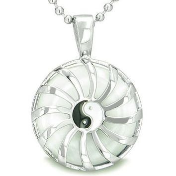 Positive Energy Sun Yin Yang Medallion Amulet Magic White Cats Eye Lucky Charm Pendant Necklace