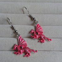 pink  silvertone dragon  dangle earrings