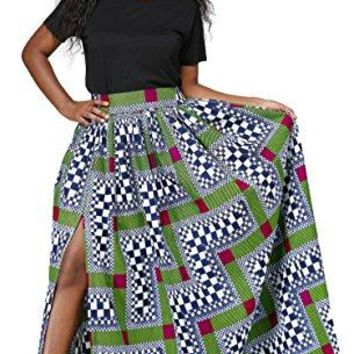 African High Waisted A Line Maxi Dashiki Long Skirts For Wome Floral Print With Pockets (S-3XL)