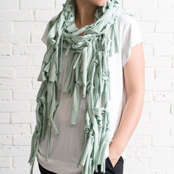 Mint green scarf, oversized scarf, jersey scarf, spring scarf