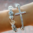 Set Silver Sideways Cross with Silver Pearls and by IsesJewelry