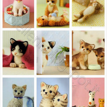 Needle Felted Cats Pattern/Needle Felted Cat Toys/Needle Felt Japanese eBook/Kitty Cat Plushie/Instant Download/Needle Felted PDF (FAB09)