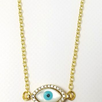 Iris Opal Evil Eye Necklace - Turquoise/Gold