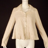 VALENTINO-2008 Ivory Wool Knit Swing Cardigan, Size-Small