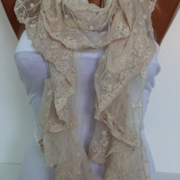 Cream Shawl/Scarf  with Lace