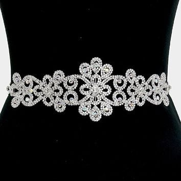 "3 Way Versatile Elegant Crystal Rhinestone Sash Bridal Wedding Belt. 13"" W, 3"" L."