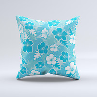 Blue & White Hawaiian Floral Pattern V4 Ink-Fuzed Decorative Throw Pillow