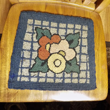 Hooked Rug Chair Mat, Floral Hooked Rug, Shaped for Chair, Cane Chair Mat