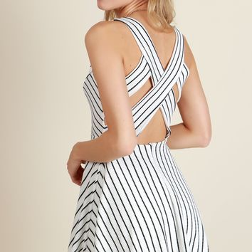 For The Love Of Pin Stripe Dress Ivory