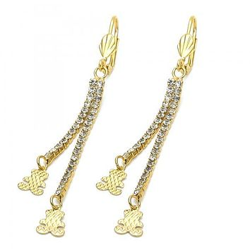 Gold Layered 5.085.007 Long Earring, Teddy Bear Design, with  Cubic Zirconia, Gold Tone