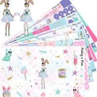 Candy Girl with CUSTOM SKIN TONE  Vertical Kit Planner Stickers
