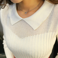 Women's Pullovers, with a collar sweater